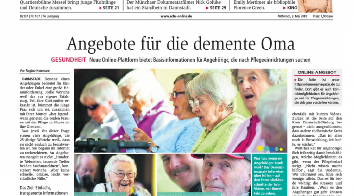 Darmstädter Echo – Angebote für demente Oma – Pressetext